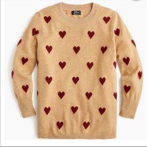 J Crew Cashmere Heart Crew Neck Sweater XL